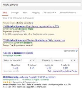 Google Hotel Finder Sorrento
