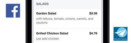 Menu del ristorante su Facebook